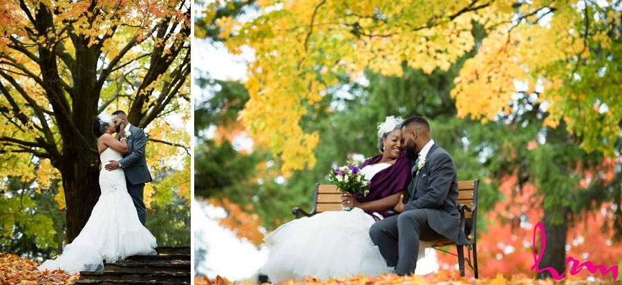 bride and groom with autumn leaves
