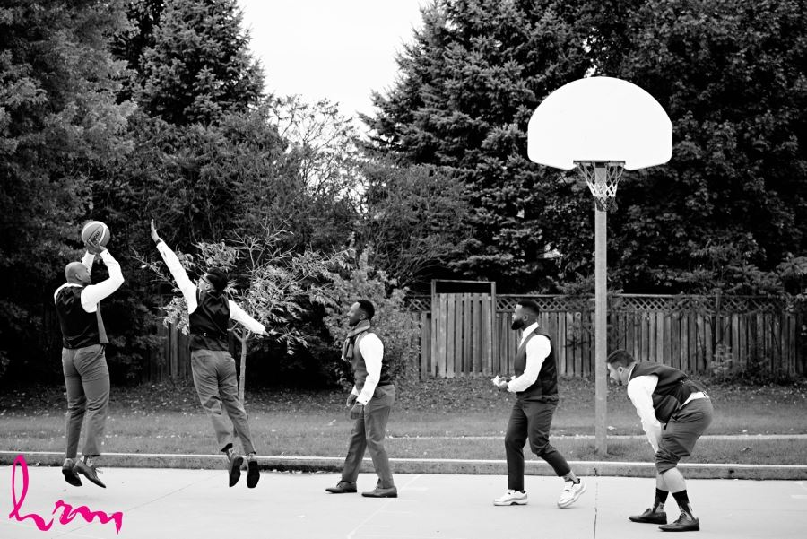 groomsmen playing basketball