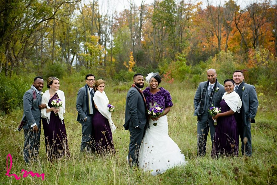 wedding party in autumn forest