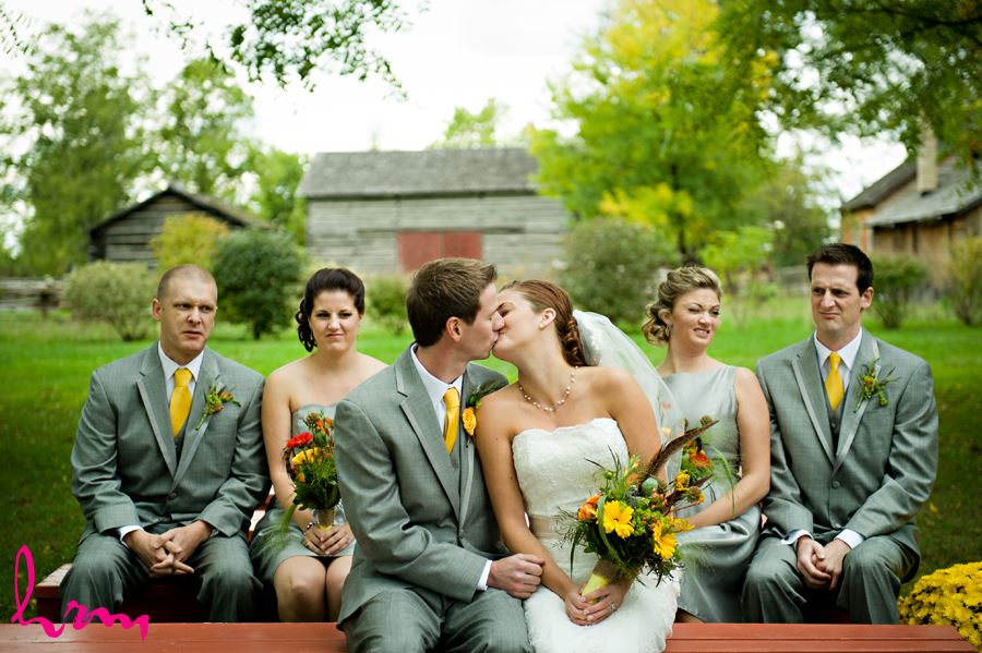 bride and groom in front of their names in london ontario