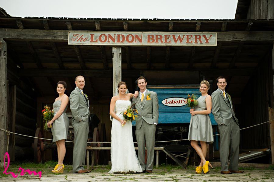 wedding party at fanshawe pioneer village