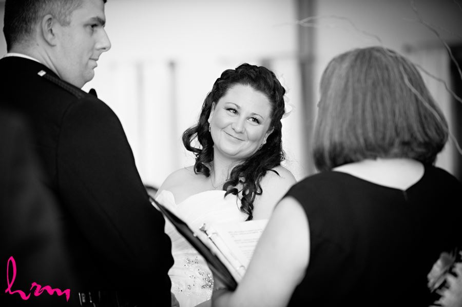 bride in a happy moment at ceremony in the old court house