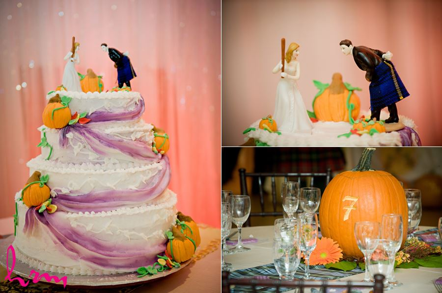 funny cake topper with pumpkins and baseball bat