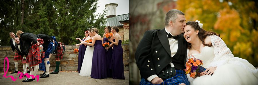 bridesmaid pointing at groomsmen underpants with kilts