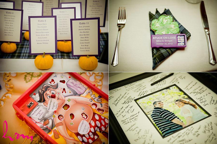 purple and orange wedding details