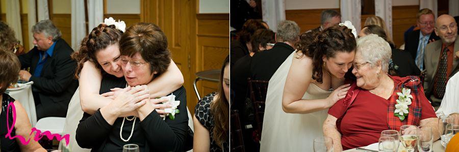 bride hugging family members