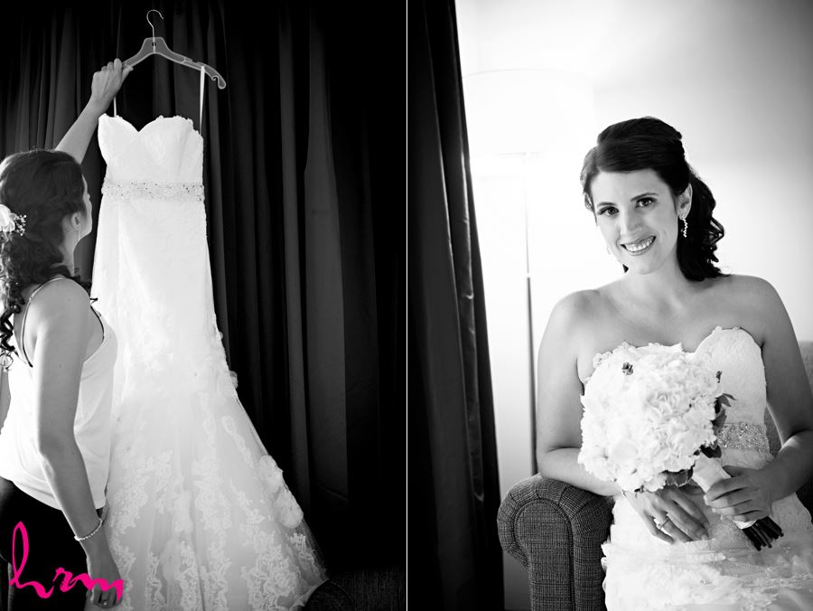 bride getting ready with dress and flowers