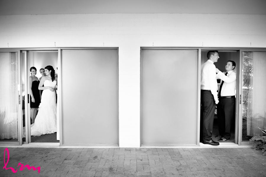 bride and groom getting ready in london ontario hotel