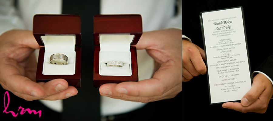 wedding rings and invitation before ceremony