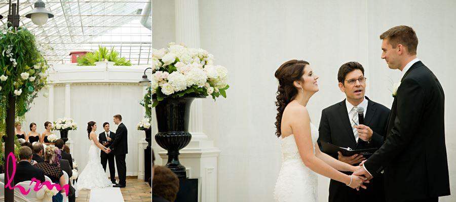 bride and groom at ceremony best western lamplighter inn