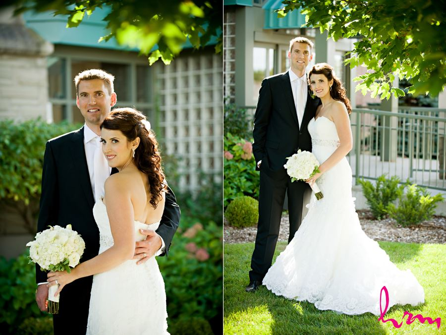 bride and groom first portrait outside after ceremony