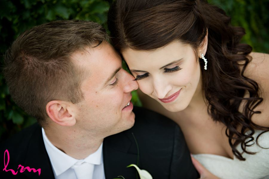 bride and groom close up romantic