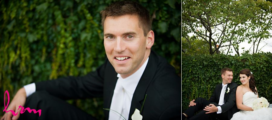 groom outside sitting portrait