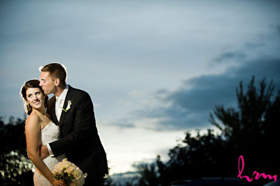 bride and groom dusk blue sky romantic