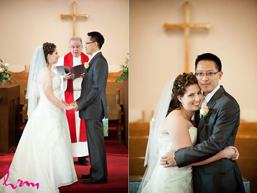 bride and groom happy moment in church