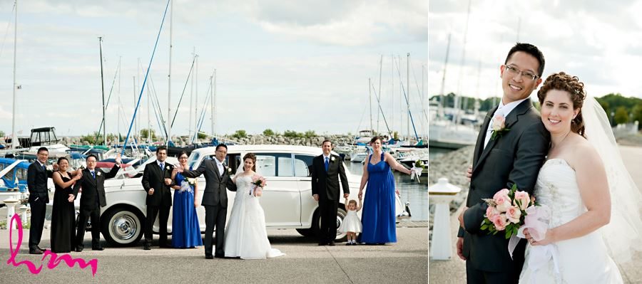 bridal party on dock with boats in oakville ontario