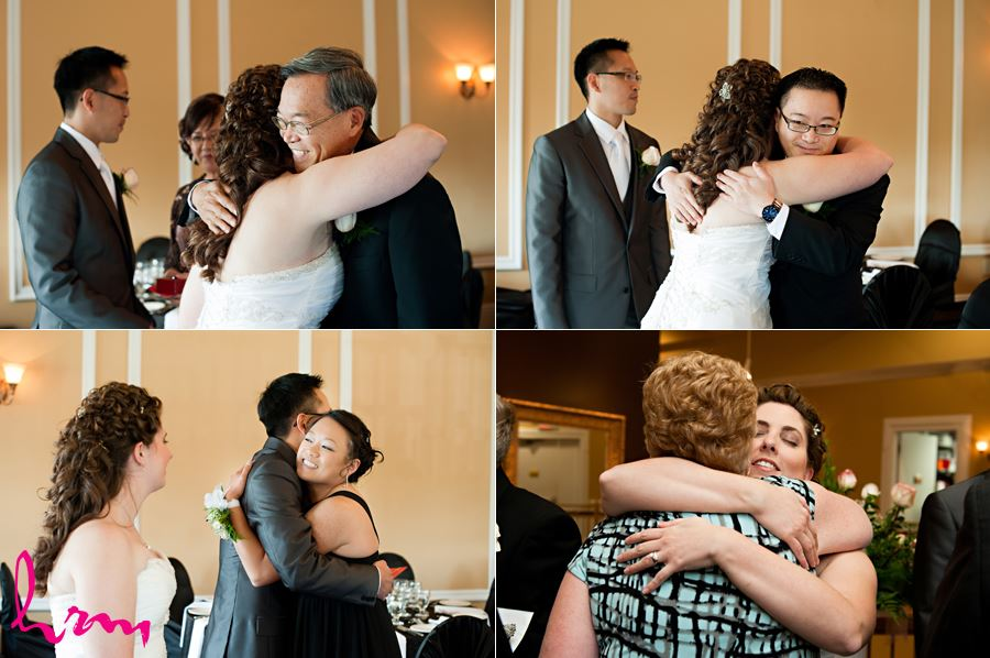 candids hugging with family and friends in oakville ontario