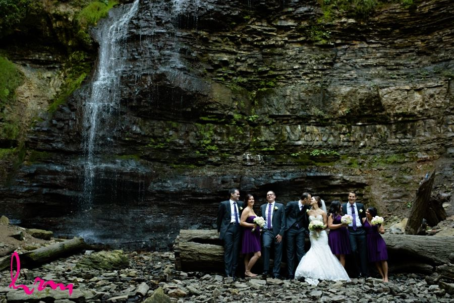 wedding party in front of waterfall