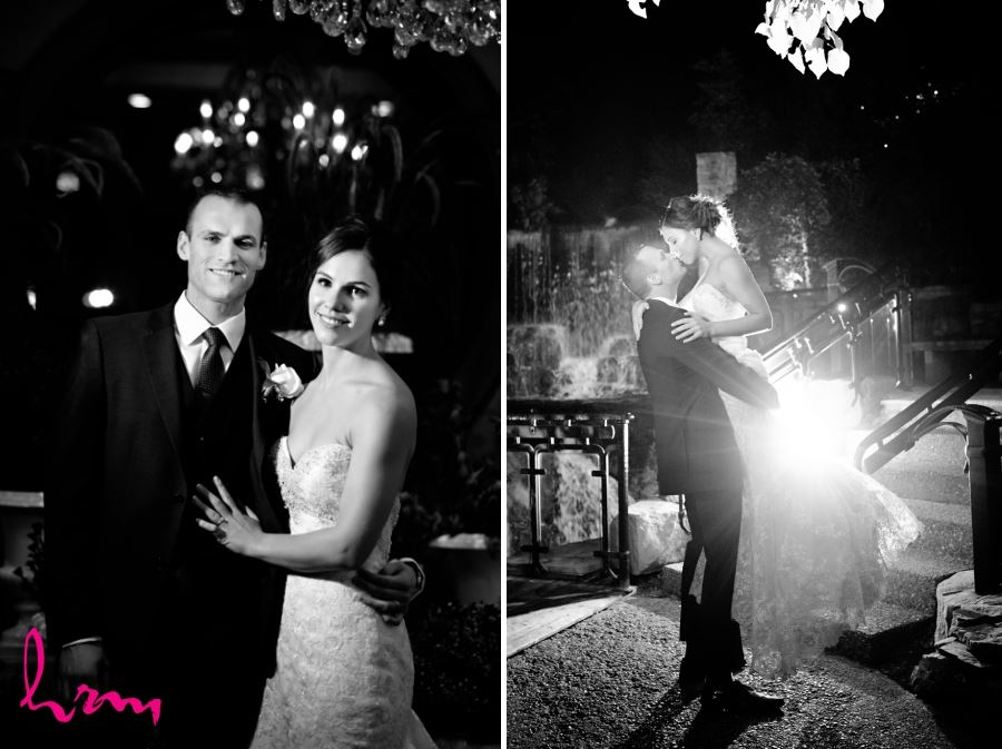bride and groom night time back lighting