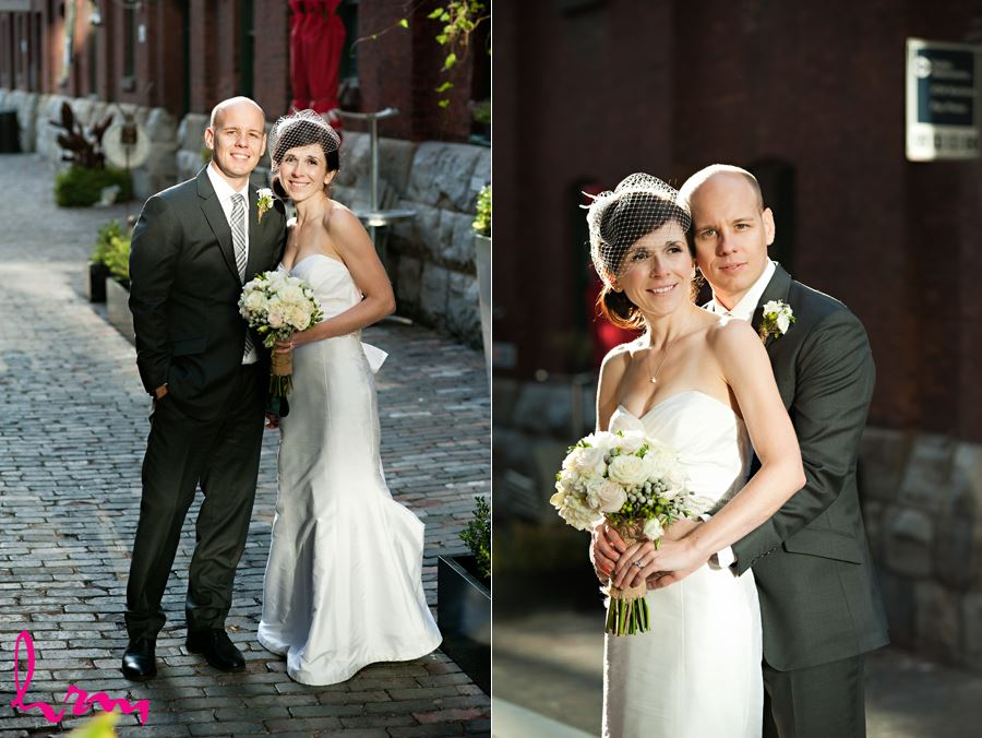 a happy couple enjoying the outdoors of the distillery district