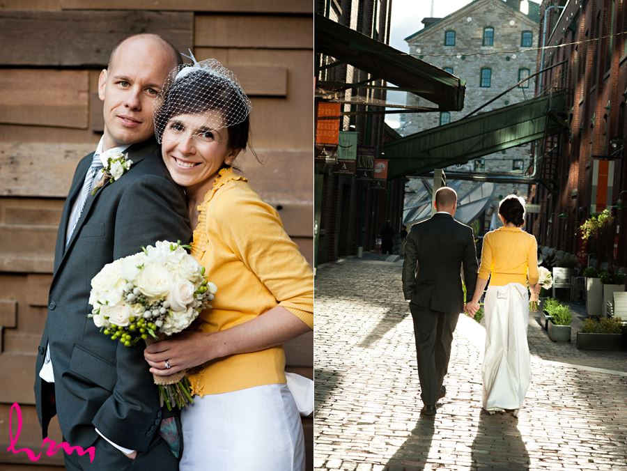 bride with yellow cardigan snuggling with her groom
