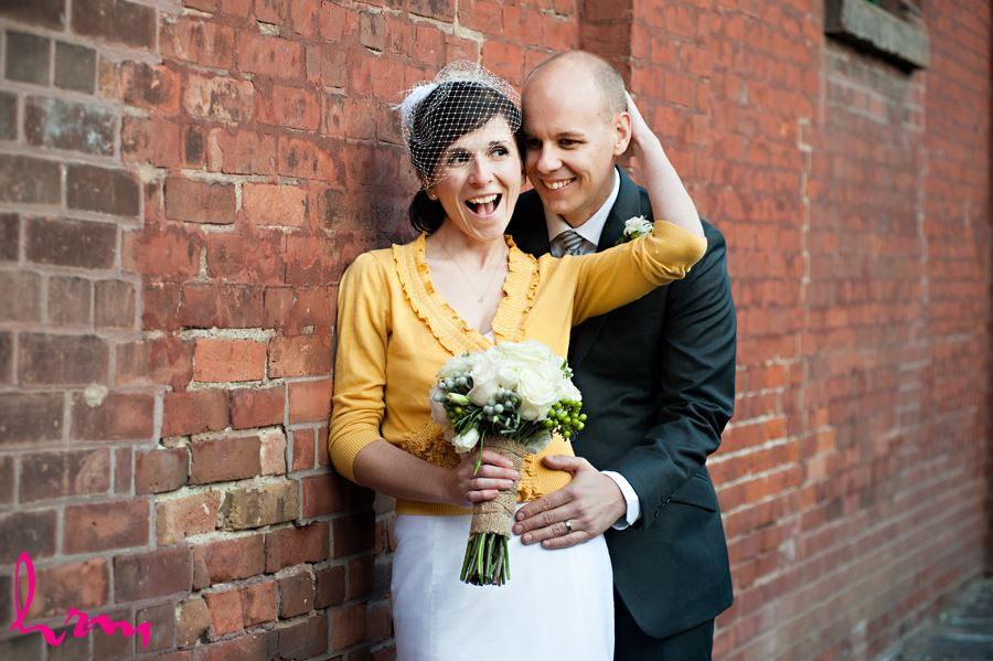 bride being silly with yellow cardigan