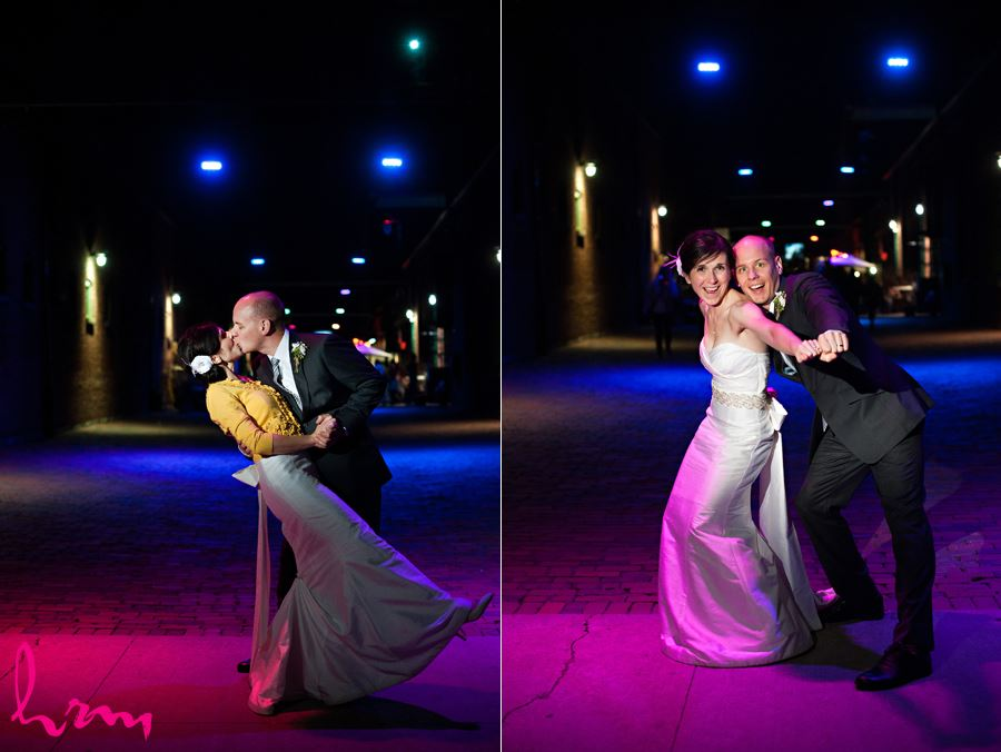night time fun with bride and groom