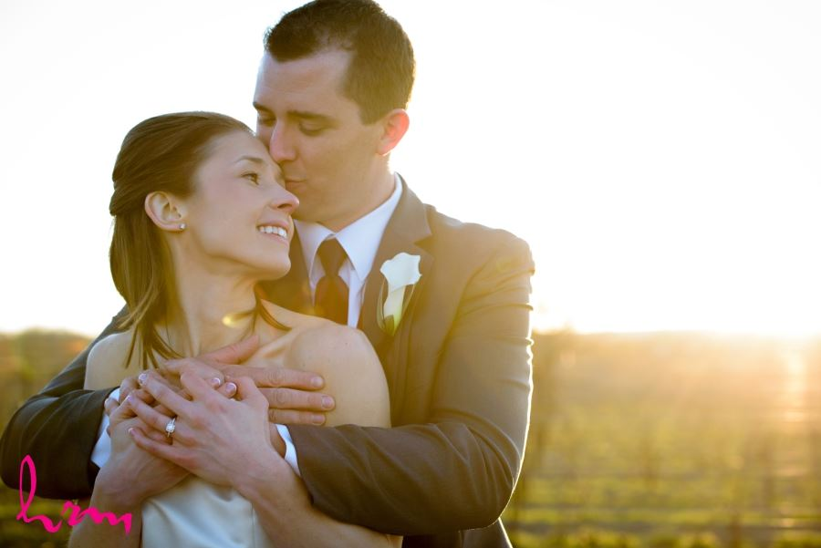 Bride and groom sunlit image photo