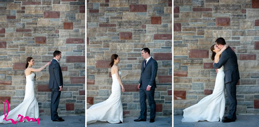 Wedding day first look bride and groom series of images