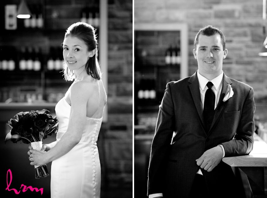 Bride and groom portraits black and white