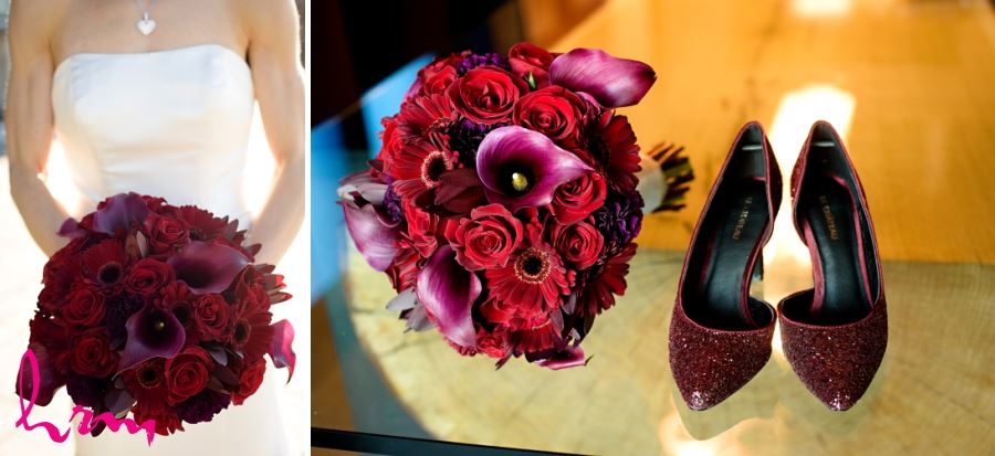 Bridal wedding bouquet red roses calla lillies and gerbera daisies