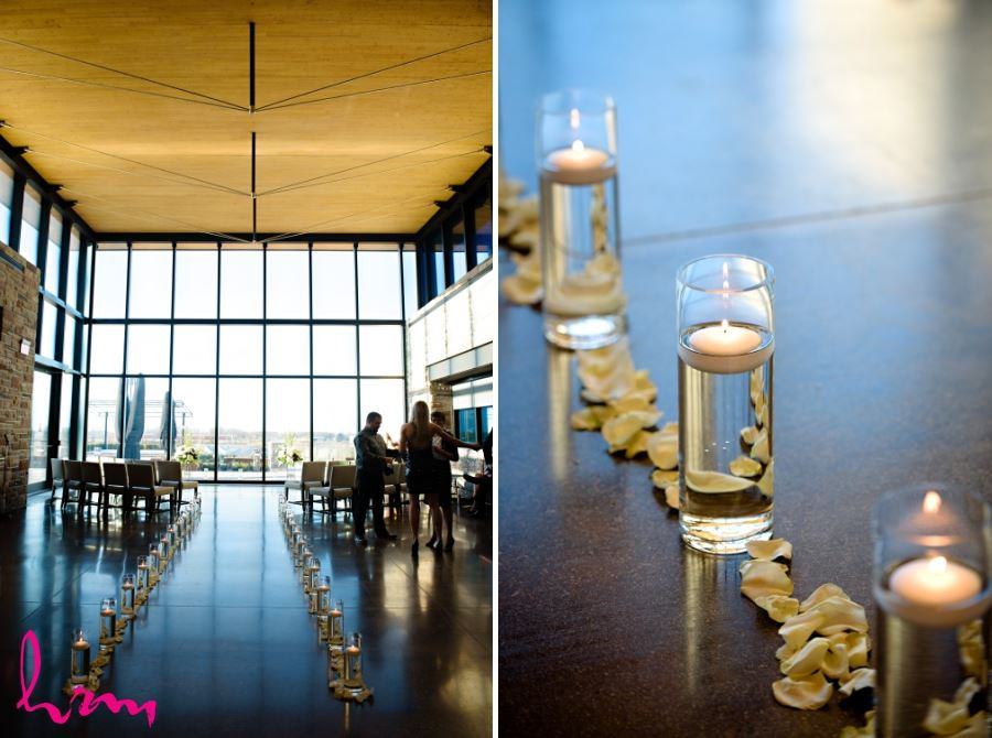 Wedding ceremony aisle decor idea lined with candles and rose petals