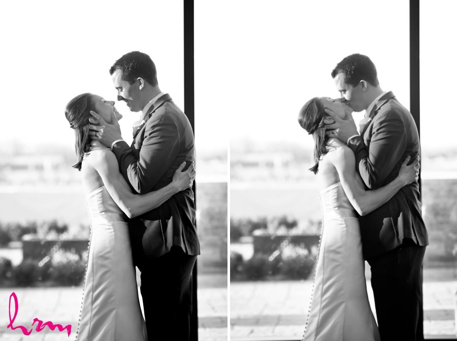 wedding ceremony first kiss black and white image series