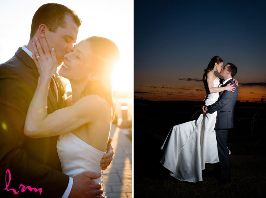 bride and groom dramatic kiss shots