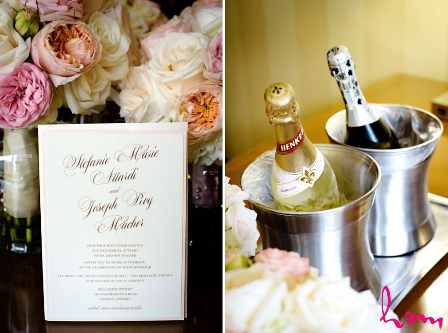 wedding invitation and bottles