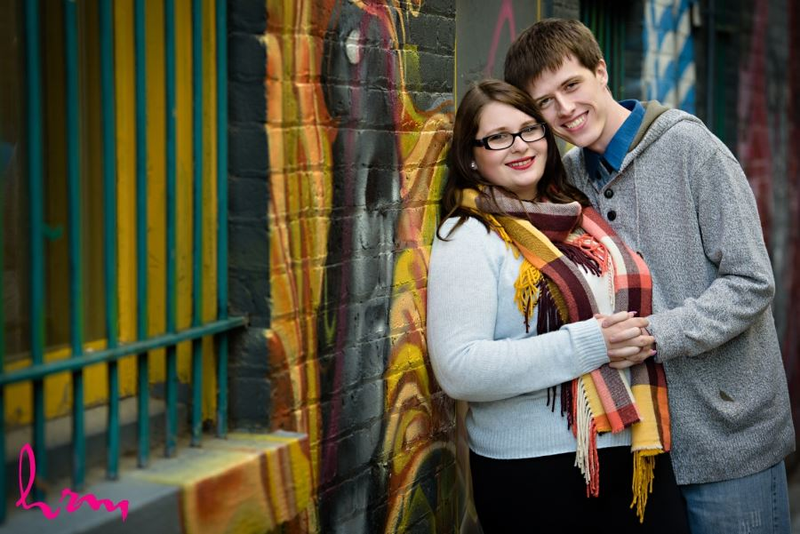 Engagement session images graffiti wall