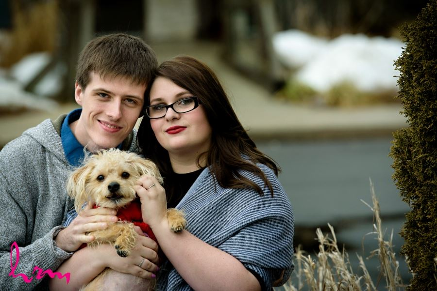 Engagement session with small dog in sweater