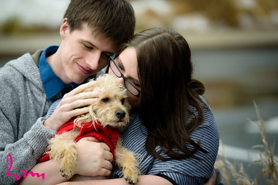 Cute engagement session with puppy