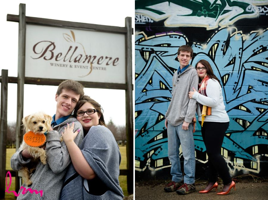Engagement session London Ontario blue graffiti wall