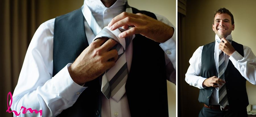 Groom getting ready at the Hilton London Ontario