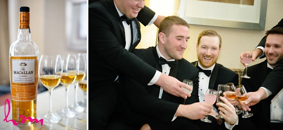 groom and groomsmen with scotch