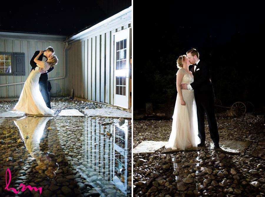 nighttime wedding shots outside backlit