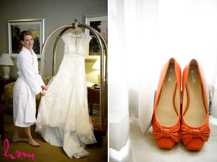 orange wedding shoes with bows