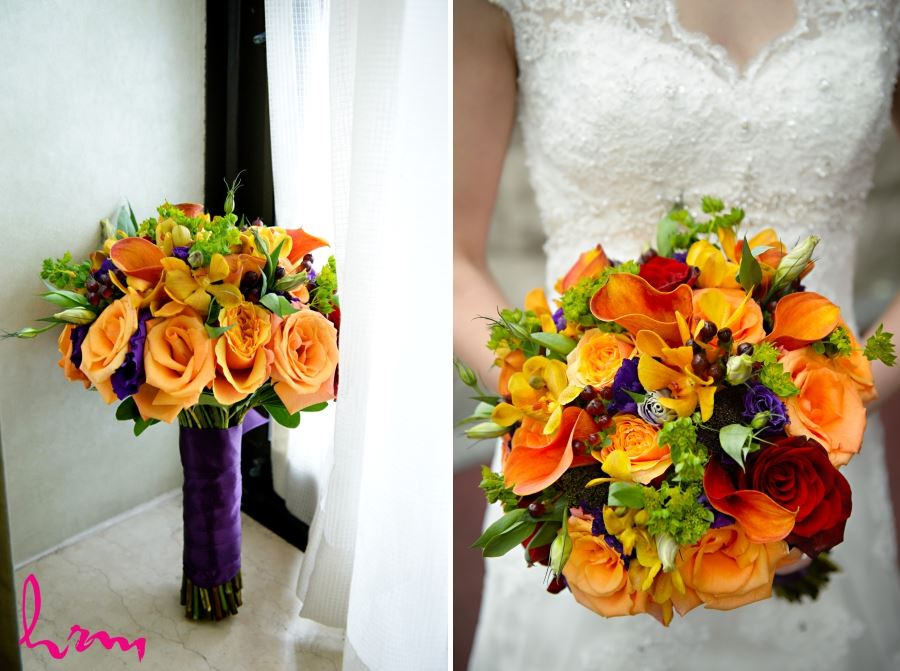 orange purple wedding bridal bouquet calla lillies and roses