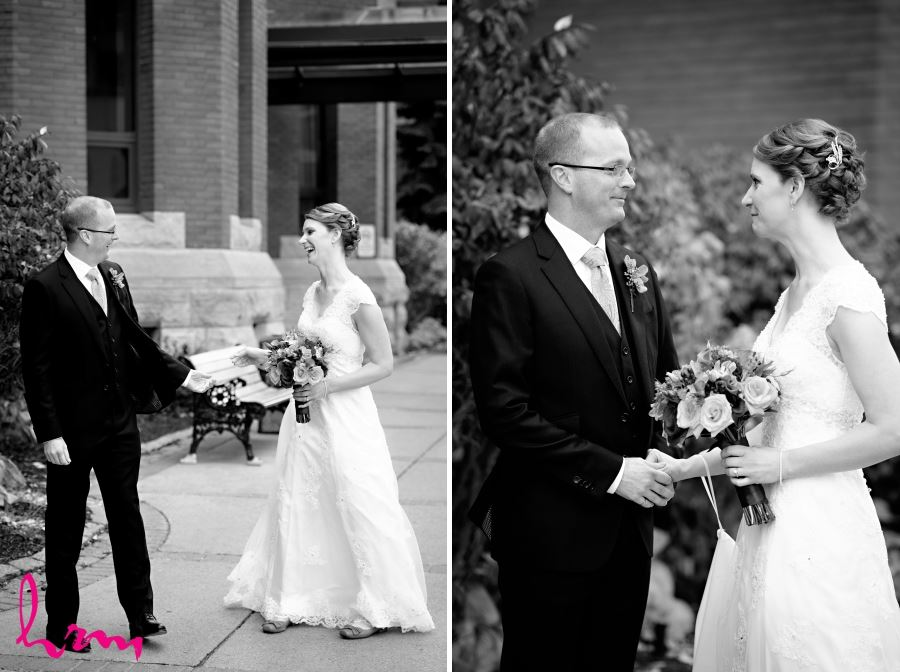 first look in black and white wedding day
