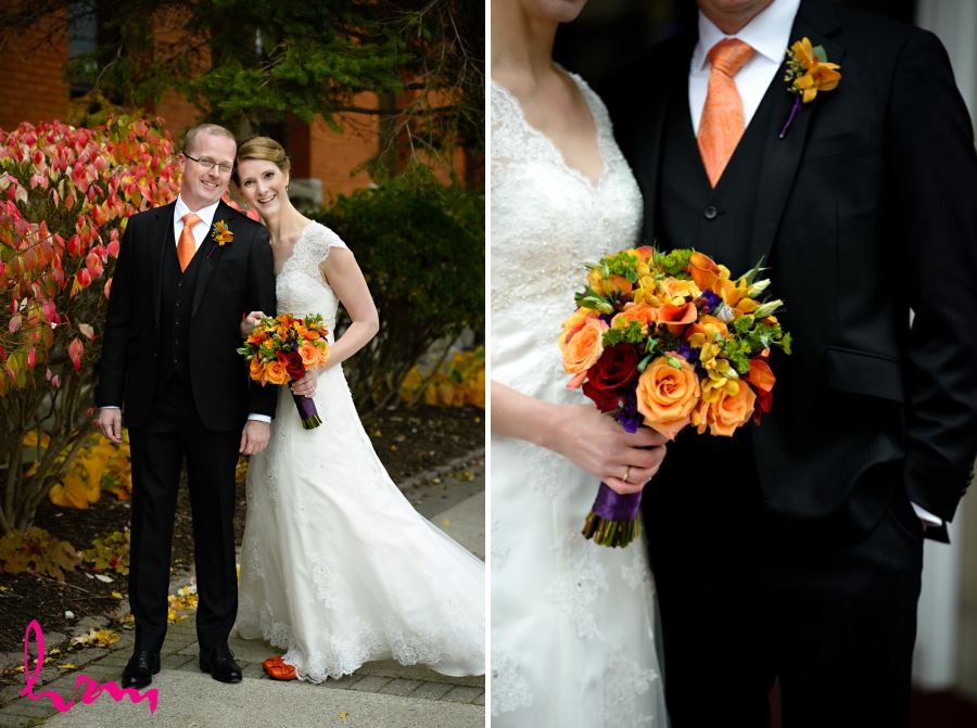 groom with orange tie and black vest fall wedding