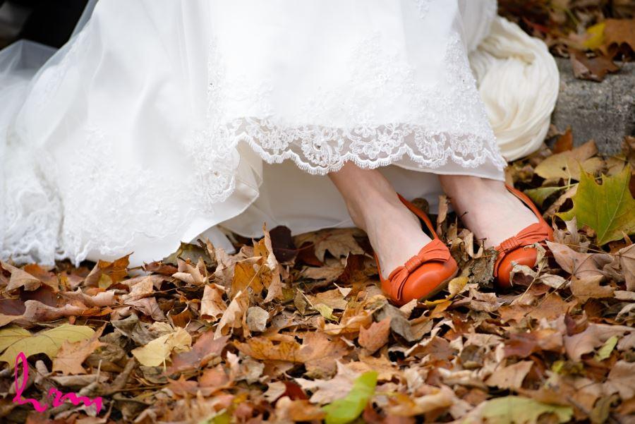 orange bridal wedding shoes for fall wedding