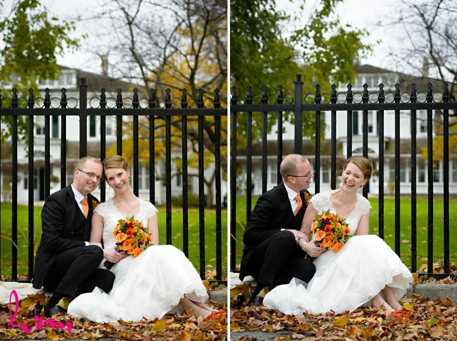 bride and groom laughing november wedding