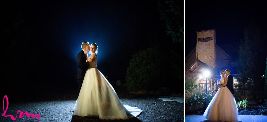 bride and groom outside at night