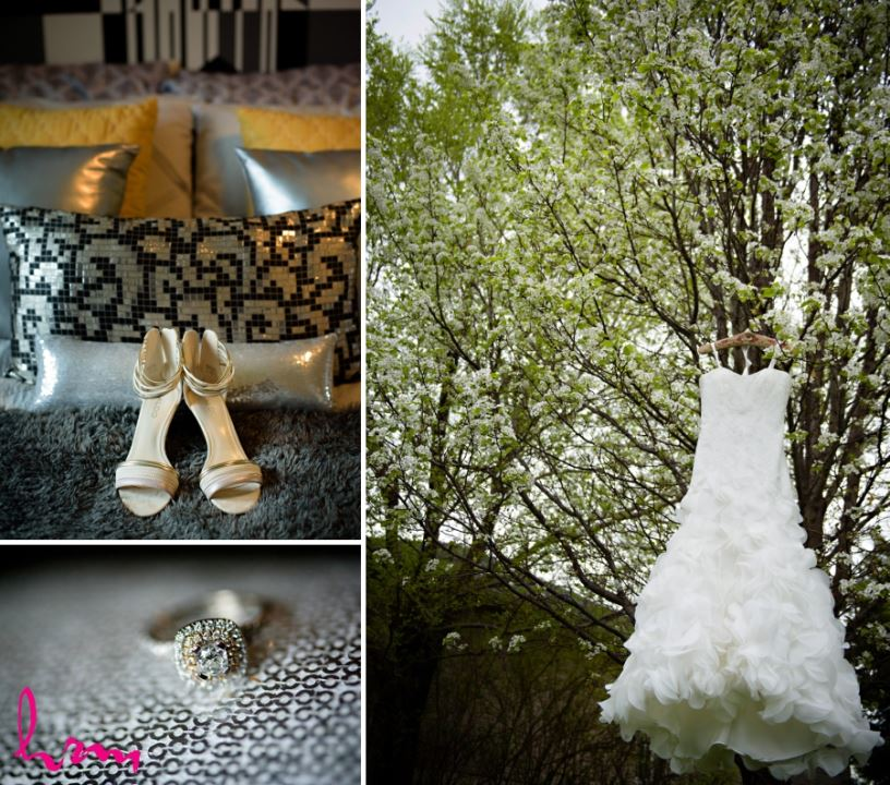 wedding day bridal details dress hanging in tree